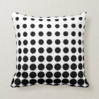 White and Black Progressive Dots Throw Pillow