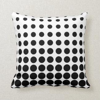 White and Black Progressive Dots Throw Pillow