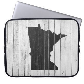 White and Black Rustic Country Minnesota State Laptop Sleeve