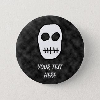 White and Black Skull. Primitive. 2 Inch Round Button