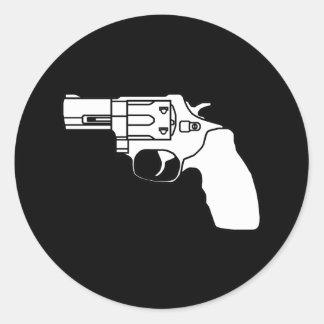 White and Black Snub Revolver Sticker