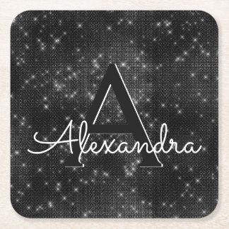 White and Black Sparkle Monogram Birthday Square Paper Coaster