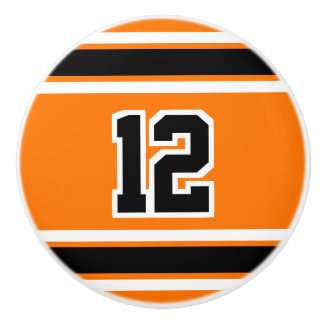 White and Black Sport Stripes - Orange with Number Ceramic Knob