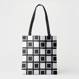 White and Black Squares Tote Bag