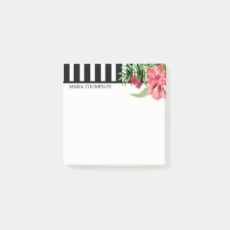 White And Black Stripes And Exotic Flowers Post-it Notes