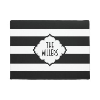 White And Black Stripes Pattern Doormat