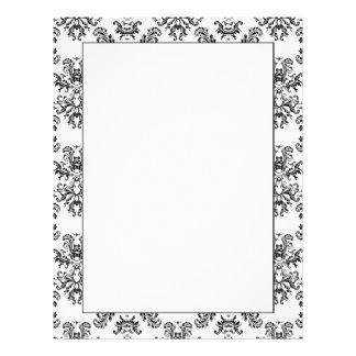 White and Black vintage damask pattern Customized Letterhead