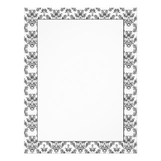 White and Black vintage damask pattern Letterhead Design