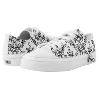 White and Black vintage damask pattern Low-Top Sneakers