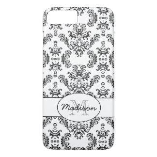 White and Black vintage damask pattern Monogram iPhone 8 Plus/7 Plus Case