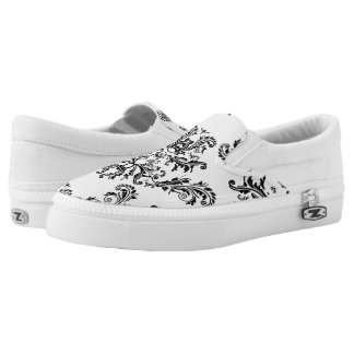 White and Black vintage damask pattern Slip-On Sneakers