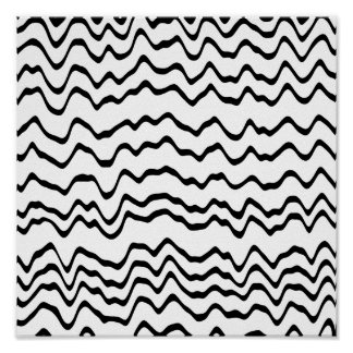 White and Black Waves Pattern. Poster