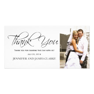 White and Black Wedding Thank You Photo Cards