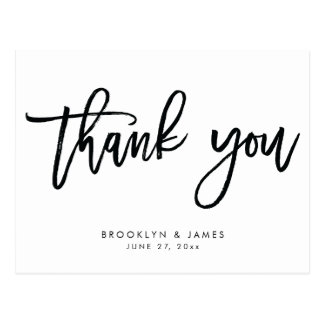 White And Black Wedding Thank You Postcards