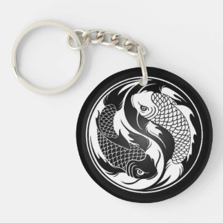 White and Black Yin Yang Koi Fish Keychain