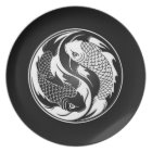 White and Black Yin Yang Koi Fish Plate