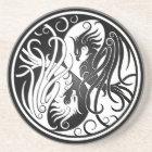 White and Black Yin Yang Phoenix Coaster