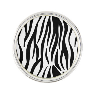 White and Black Zebra Pattern Lapel Pin