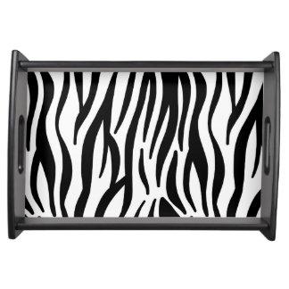 White and Black Zebra Pattern Serving Trays