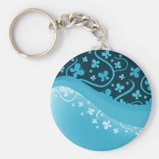 White and Blue Abstract Butterflies Basic Round Button Keychain