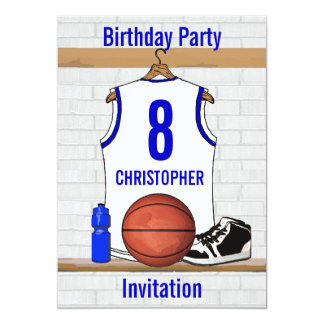 White and Blue Basketball Jersey Birthday Party Card