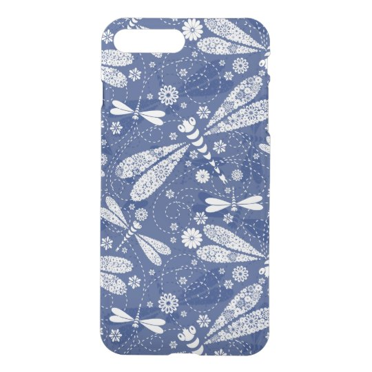 White And Blue DragonFly Seamless Pattern iPhone 7 Plus Case