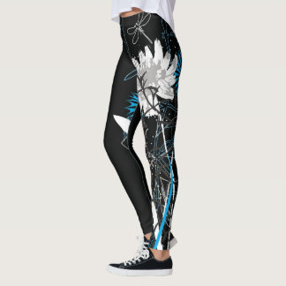 White and Blue Floral Leggins Leggings