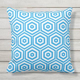 White and Blue Hexagon Pattern Throw Pillow