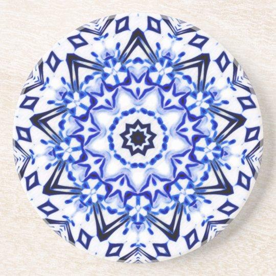 White and Blue Kaleidoscope Mandala Coaster