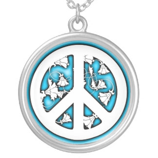 White and Blue Neon Peace Round Pendant Necklace
