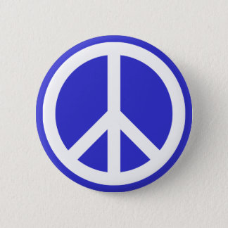 White and Blue Peace Symbol 2 Inch Round Button