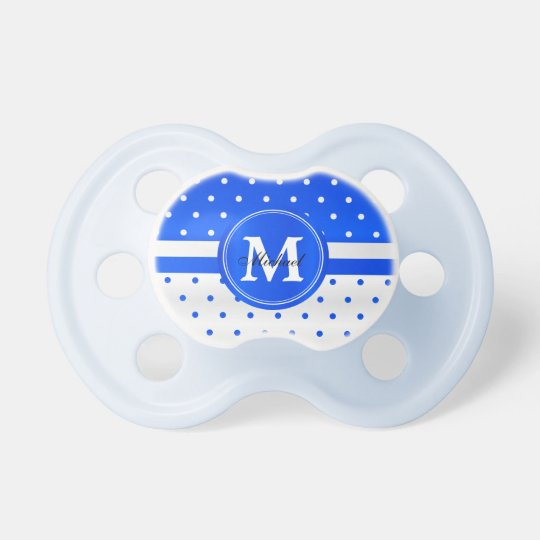 White and Blue Polka Dot - Monogram Baby Pacifiers