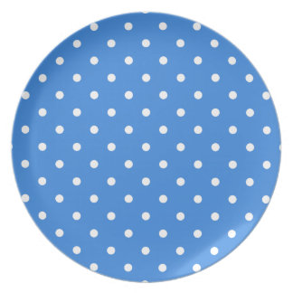White and Blue Polka Dot Pattern. Plate
