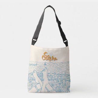 White and blue SaConcha Crossbody Bag