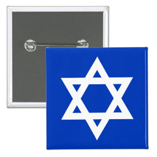 White and Blue Star of David Pinback Buttons