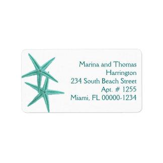 White and Blue Starfish Custom Address Labels