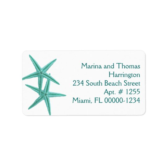 White and Blue Starfish Custom Address Labels