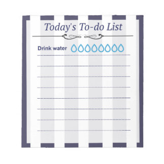 White and Blue Stripes To-Do List Notepad