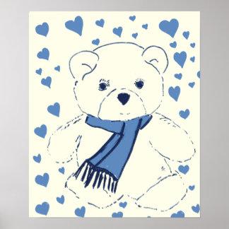 White and Blue Teddy Bear Print