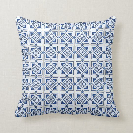 White and Blue Tiles Cushion