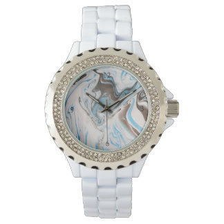 White And Blue Tones Pattern Marble Watch