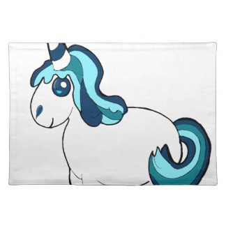 White and blue unicorn ,cute  fantasy creature placemat