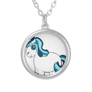 White and blue unicorn ,cute  fantasy creature silver plated necklace