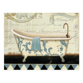 White and Blue Vintage Bath Tub Postcard