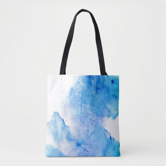 White and blue watercolor tote bag