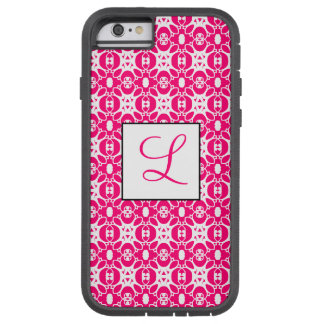 White and Bright Pink Lace Style Pattern Monogram Tough Xtreme iPhone 6 Case