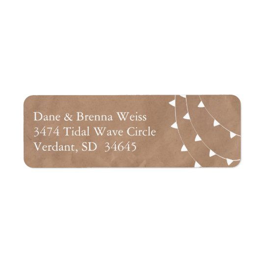 White and Brown Banner Bunting Return Address