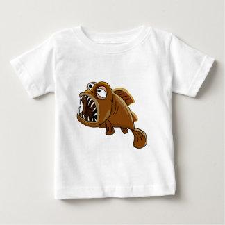 white and brown cartoon piranha fish baby T-Shirt