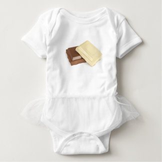 White and brown chocolate baby bodysuit
