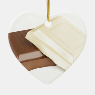 White and brown chocolate ceramic heart ornament